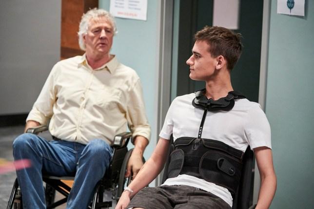 John (Shane Withington) and Jett (Will McDonald) in hospital