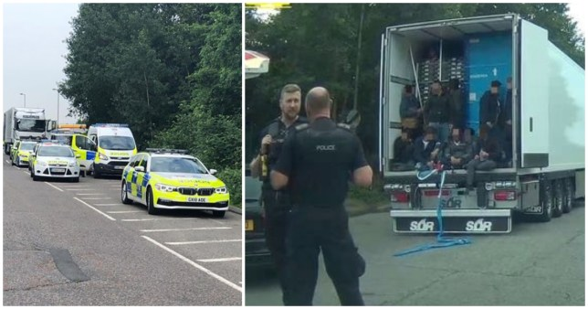 Moment migrants pour out of back of lorry after arriving in UK