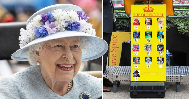 Queen Elizabeth II (left) wearing light blue at day two of Ascot 2019 next to a picture of a bookmakers board with odds on what colour she will wear next.