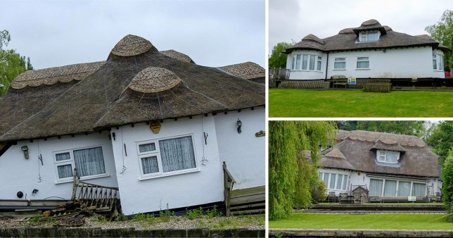 The thatched cottage on the River Bure at Horning, in Norfolk has started sinking