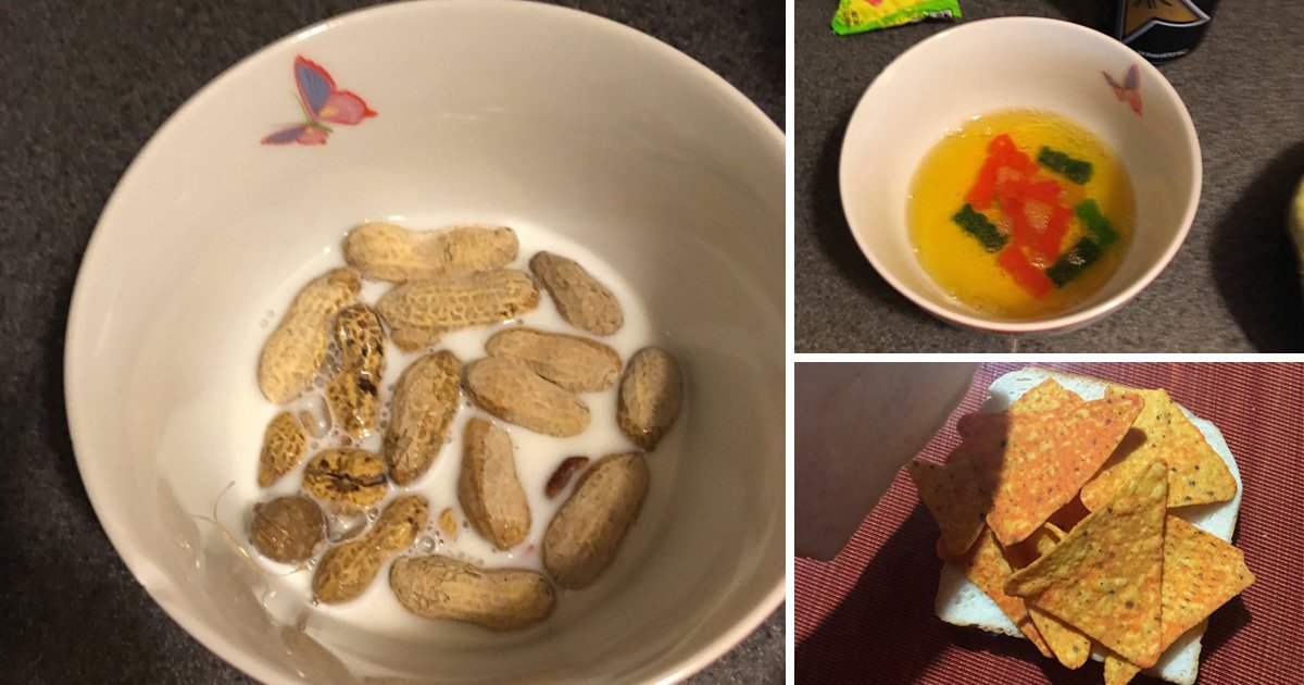 Depression dishes display peanut cereal, nacho sandwich and candy in juice