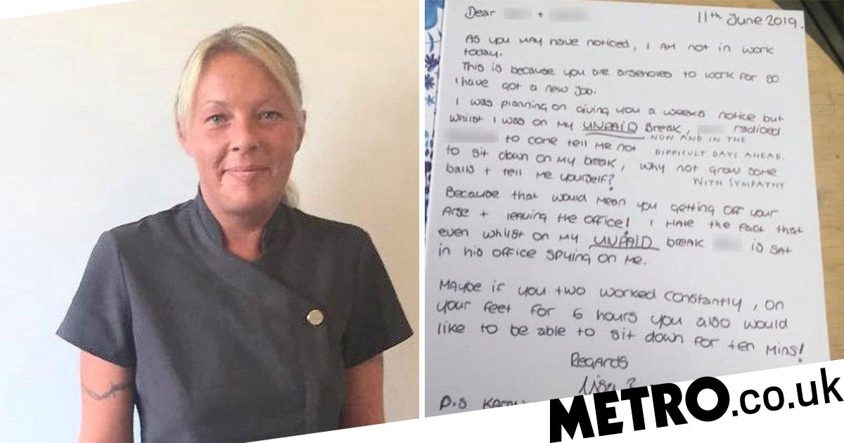 Cleaner quits job and calls boss an 'arsehole' in 'sorry for your