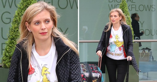 Pregnant Rachel Riley outside Countdown studios