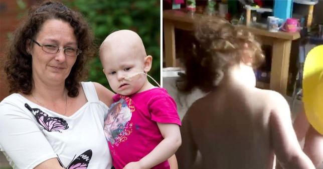 Toddler diagnosed with brain tumour after worried mum videoed her wonky walk