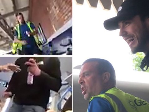 Gin swigging men filmed hurling homophobic and racist abuse on London train