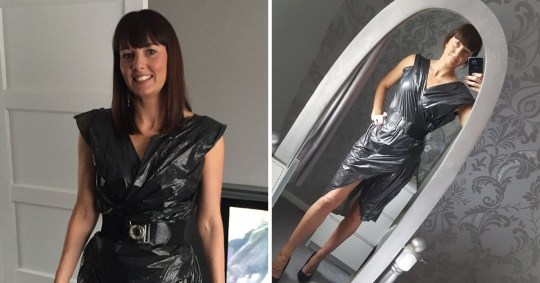 Mum tries on dress made out of bin bags