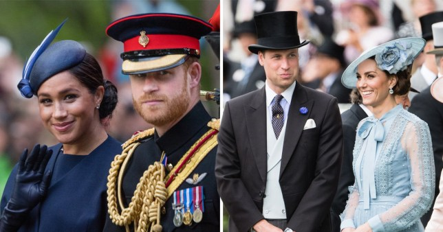 Meghan and Harry together on the left and Kate Middleton and Prince William standing together on the right
