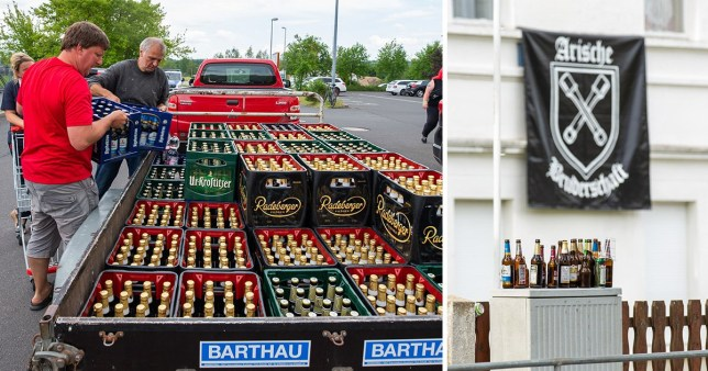 Two images of beer which residents of Ostritz, Germany bought en masse to stop neo-Nazis from drinking at a music festival