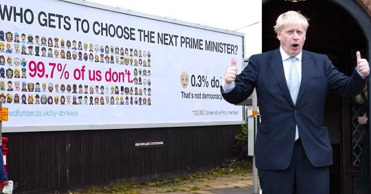 Picture of a Led by Donkeys poster showing how only 0.3% of the UK population - the Conservative Party membership - will get to vote for the UK's next Prime Minister. Next to a picture of Conservative leadership hopeful Boris Johnson.