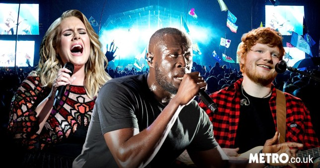 Adele, Stormzy and Ed Sheeran performing