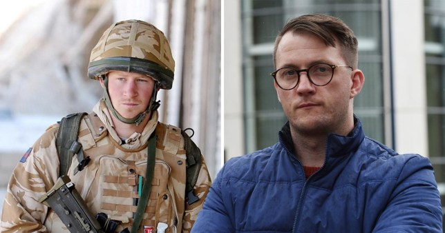 Prince Harry serving in the British Army in Afghanistan next to a picture of former serviceman James Wharton who was attacked by a stranger in Birmingham City Centre