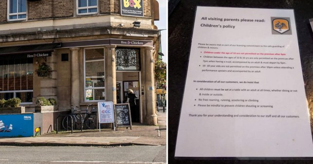 Pub branded 'unfair' over strict policy banning children from wandering around