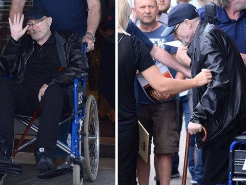 Phil Collins makes rare appearance as he's spotted in wheelchair and using walking stick