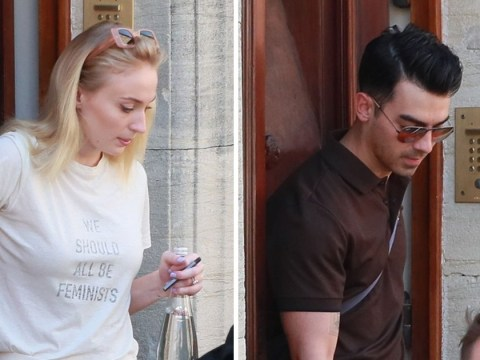 Sophie Turner arrivals in bridal white at wedding venue with husband Joe Jonas