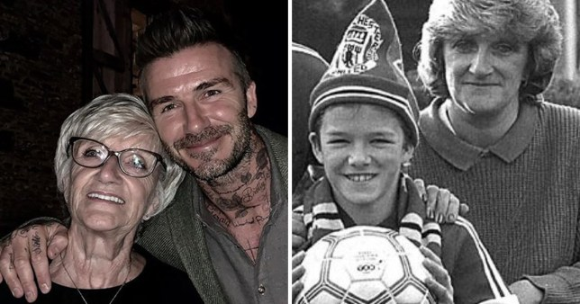 David Beckham and his mum in a childhood and current photo.