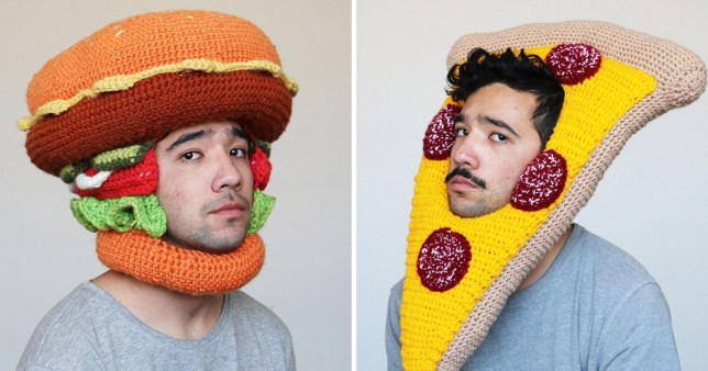 Artist wearing large crochet hat of burger and pizza
