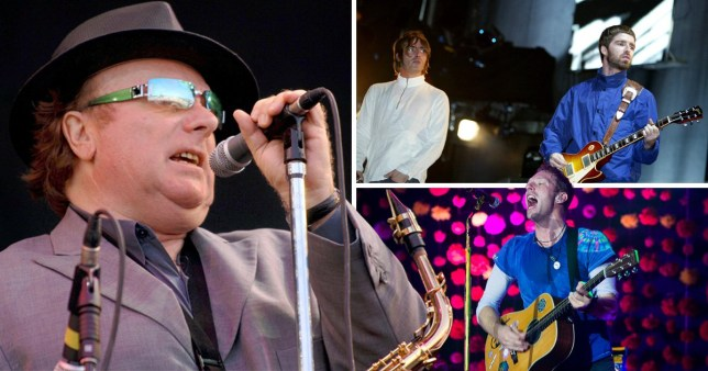 Split image of Van Morrison, Oasis and Coldplay