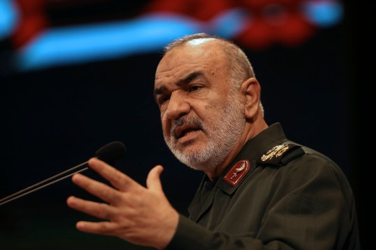 """In this Nov. 22, 2018, the then deputy commander of Iran's Revolutionary Guard Gen. Hossein Salami speaks in a conference in Tehran, Iran. Iran's Revolutionary Guard shot down a U.S. drone on Thursday, June 20, 2019, amid heightened tensions between Tehran and Washington over its collapsing nuclear deal with world powers, American and Iranian officials said, while disputing the circumstances of the incident. The current chief of the Guard, Gen. Salami, speaking to a crowd in the western city of Sanandaj on Thursday, described the American drone as """"violating our national security border."""" (AP Photo/Vahid Salemi)"""