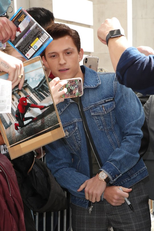 LONDON, ENGLAND - JUNE 21: Tom Holland seen at BBC Radio 2 on June 21, 2019 in London, England. (Photo by Neil Mockford/GC Images)