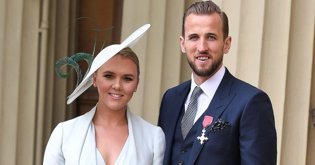 Mandatory Credit: Photo by James Veysey/REX (10179866z) Harry Kane with his MBE, awarded for his services to football, accompanied by Kate Goodland Investitures at Buckingham Palace, London, UK - 28 Mar 2019 Kate Goodland, Wearing Ralph & Russo, Hat by Bundle Maclaren