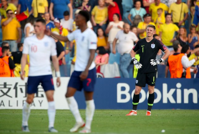 England U21 goalkeeper Dean Henderson appears dejected after conceding during the 2019 UEFA European Under-21 Championship, Stadio Dino Manuzzi in Cesena, Italy. PRESS ASSOCIATION Photo. Picture date: Friday June 21, 2019. See PA story SOCCER England U21. Photo credit should read: Nick Potts/PA Wire. RESTRICTIONS: Editorial use only in permitted publications not devoted to any team, player or match. No commercial use. Stills use only - no video simulation. No commercial association without UEFA permission. Please contact PA Images for further information.