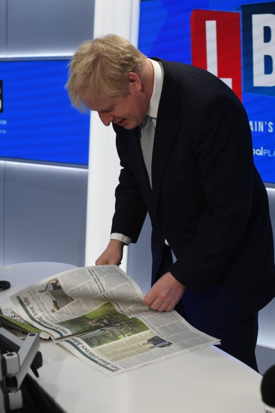 Boris Johnson on LBC Radio today. ? Jeremy Selwyn / Evening Standard / eyevine Contact eyevine for more information about using this image: T: +44 (0) 20 8709 8709 E: info@eyevine.com http://www.eyevine.com
