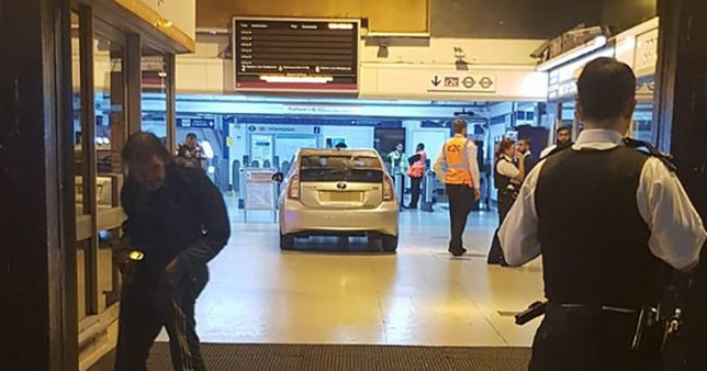 Uber drives into train station after passenger threatened them.TAKEN WITHOUT PERMISSION