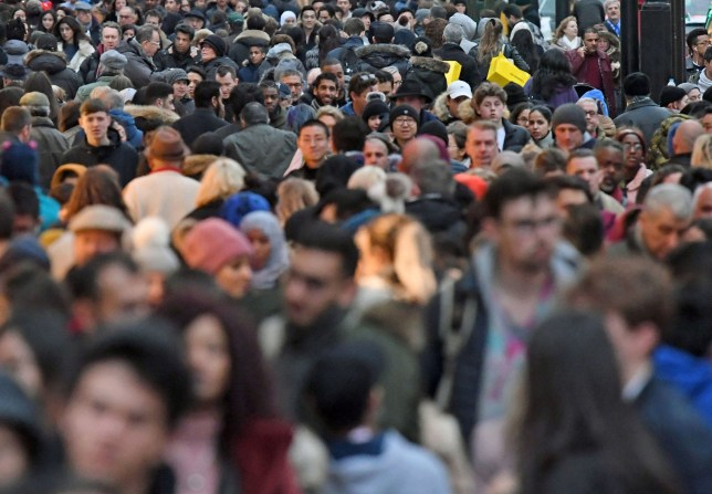 File photo dated 24/12/17 of people on Oxford Street in London. The estimated population of the UK has hit 66.4 million, a year-on-year increase of 0.6%, the Office for National Statistics said. PRESS ASSOCIATION Photo. Issue date: Thursday February 28, 2019. See PA story POLITICS Population. Photo credit should read: Victoria Jones/PA Wire