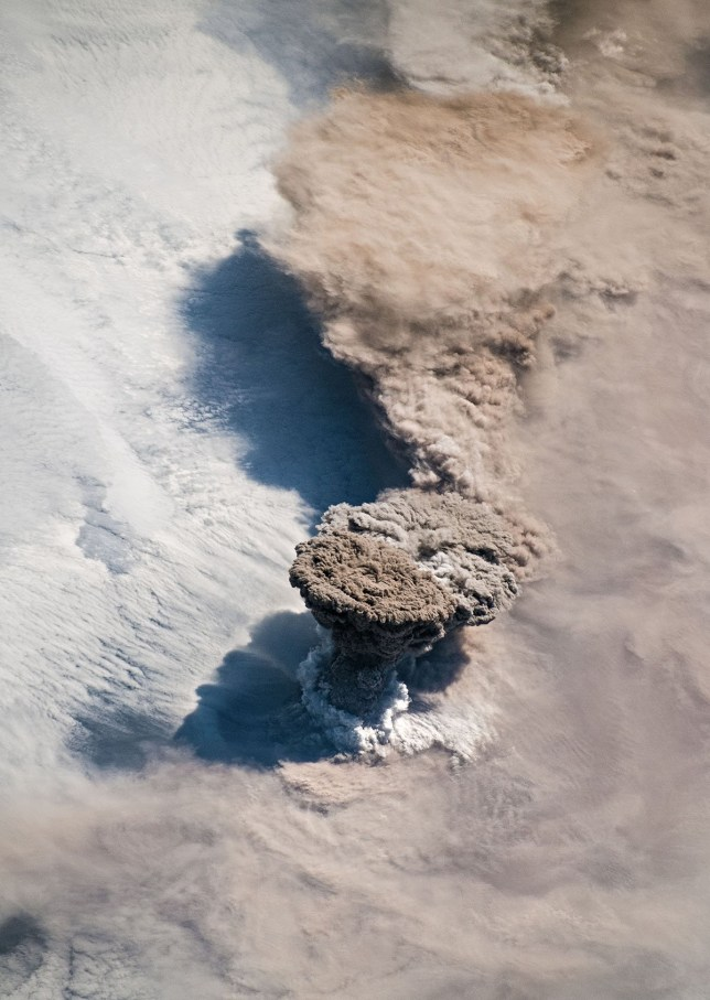 Unlike some of its perpetually active neighbors on the Kamchatka Peninsula, Raikoke Volcano on the Kuril Islands rarely erupts. The small, oval-shaped island most recently exploded in 1924 and in 1778. The dormant period ended around 4:00 a.m. local time on June 22, 2019, when a vast plume of ash and volcanic gases shot up from its 700-meter-wide crater. Several satellites???as well as astronauts on the International Space Station???observed as a thick plume rose and then streamed east as it was pulled into the circulation of a storm in the North Pacific. On the morning of June 22, astronauts shot a photograph (above) of the volcanic plume rising in a narrow column and then spreading out in a part of the plume known as the umbrella region. That is the area where the density of the plume and the surrounding air equalize and the plume stops rising. The ring of clouds at the base of the column appears to be water vapor.