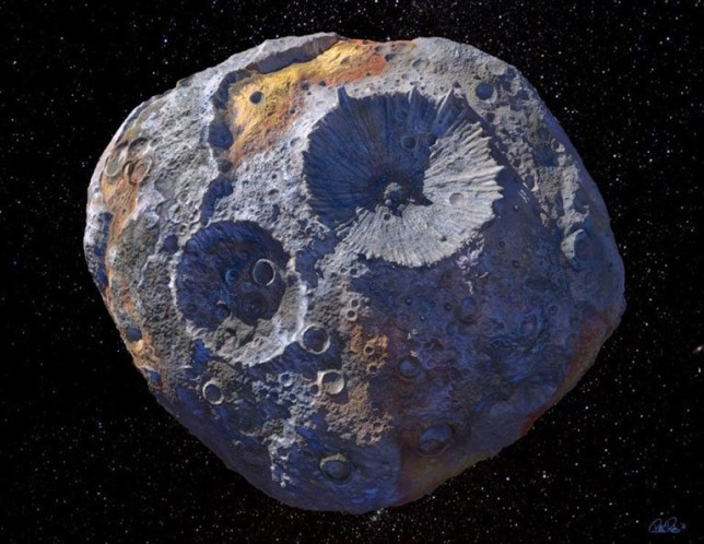 Artist's concept of the asteroid 16 Psyche, which is thought to be a stripped planetary core