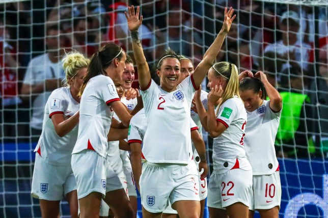 Lucy Bronze celebrates with her teammates after scoring the 3-0 lead during the FIFA Women's World Cup 2019