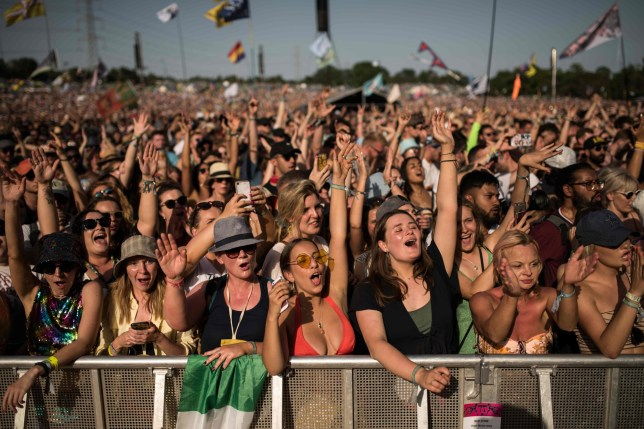 Festival crowd at the Pyramid Stage at Glastonbury Festival
