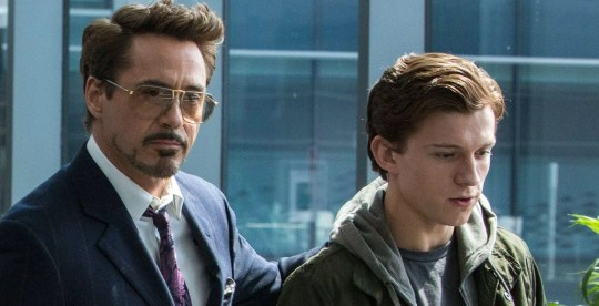 Robert Downey Jnr as Tony Stark and Tom Holland as Peter Parker in Spider-Man