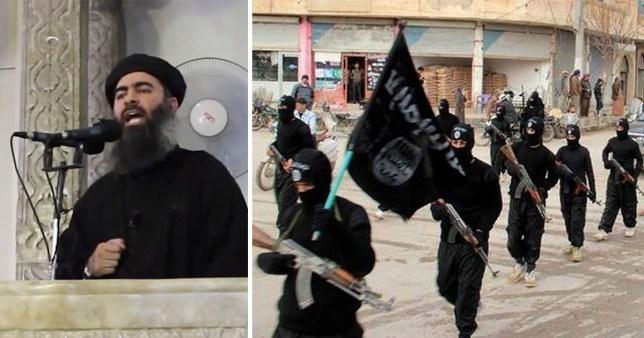 Iraqi Isis leader Abu Bakr al-Baghdadi and Levant (ISIL) marching in Raqqa