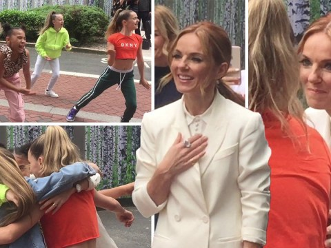 Geri Horner can't cope as mini Spice Girls perform signature dance moves outside her hotel