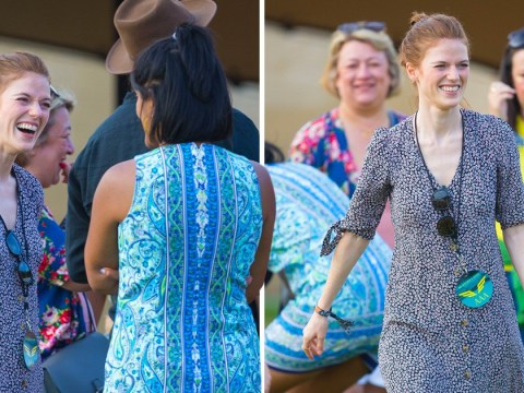 Rose Leslie lets her hair down at festival as husband Kit Harington checks into rehab