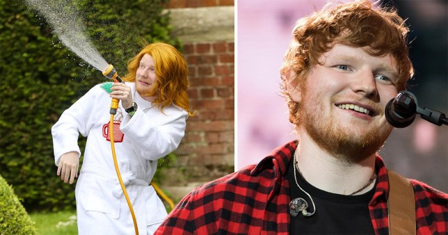 Ed Sheeran wears long ginger flowing wig and white dressing gown on the set of his new music video