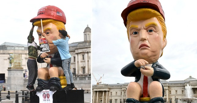 As people pass by, the robot farts and shouts phrases including 'you are fake news' and 'I am a very stable genius' (Picture: PA)