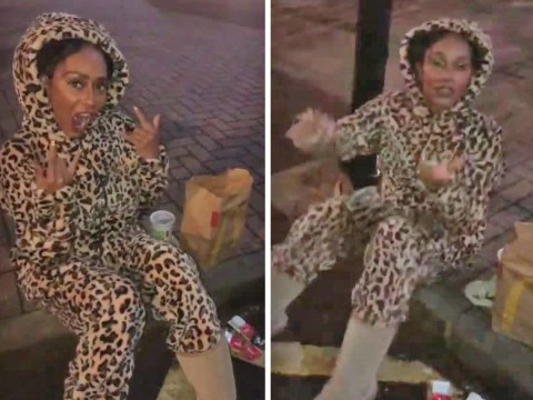 Mel B unwinds with McDonald's and champagne in the street after Spice Girls perform in Coventry
