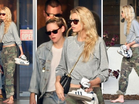 Stella Maxwell leaves salon barefoot as she enjoys pampering date with on-off girlfriend Kristen Stewart