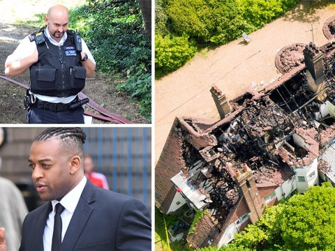 Police pictured at Oritse Williams' burned down house as they treat fire as 'suspicious'