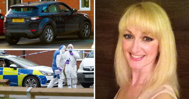 Compilation of the crime scene investigations next to a selfie of Cheryl Hooper who was allegedly shot dead by estranged husband Andrew Cooper.