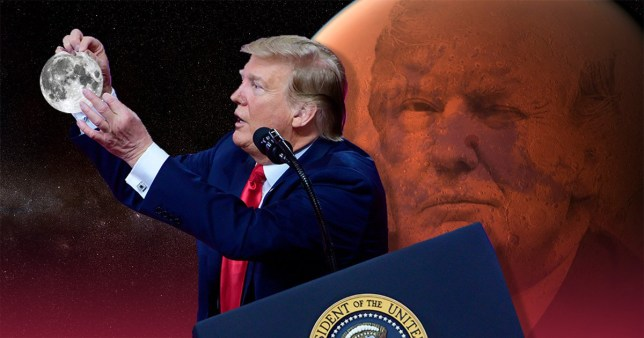Donald Trump blasted Nasa for focusing on returning to the Moon on Friday - then claimed the space rock was actually part of Mars (Pictures: AP/Nasa)