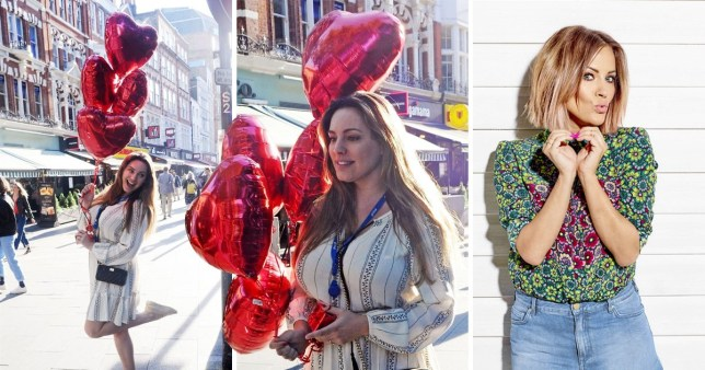 Kelly Brook Heart balloons Caroline Flack