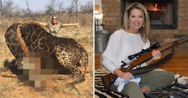 Tess Thompson Talley poses with dead giraffe she killed