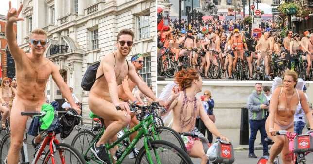 Participants have fun biking in the buff despite the cooler London temperatures (Picture: REX)