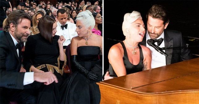 Lady Gaga and Bradley Cooper performing at the Oscars 2019 with Irina Shayk