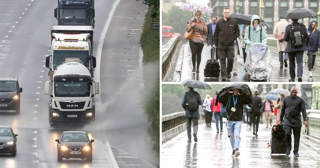 Severe yellow weather warnings are in place with a chance of local flooding from Monday. Lorries splash water on the motorway, while commuters brave the rain on Westminster Bridge