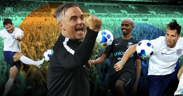 Robbie Williams, Mo Farah, Mark Wright and Jamie Redknapp as part of Soccer Aid 2019