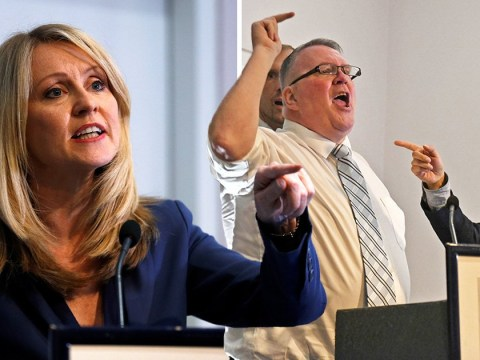 Heckler storms stage during Esther McVey speech shouting 'fake Tories'